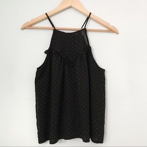 Guess black halter polka dot blouse